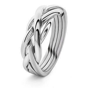 Puzzel-ring zilver braid